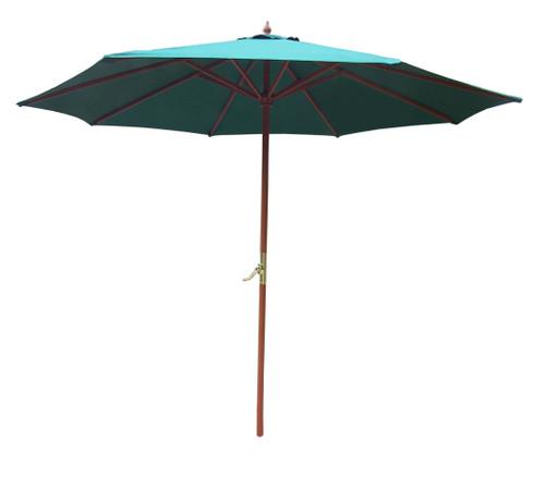 9ft Outdoor Patio Market Umbrella with Hand Crank and Tilt, Green - IMAGE 1