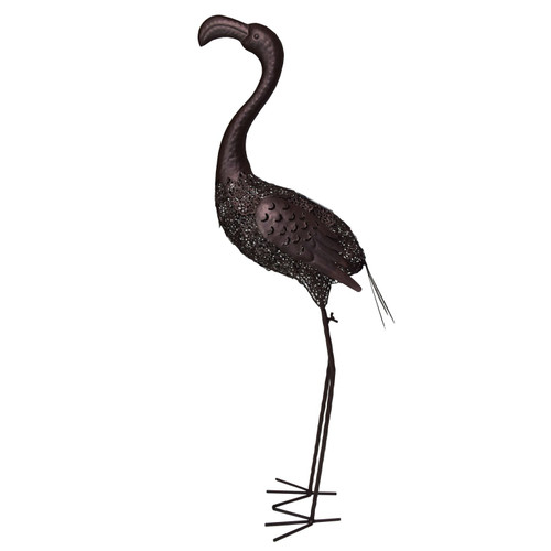 """40"""" Brown Solar LED Lighted Flamingo Outdoor Garden Statue - IMAGE 1"""