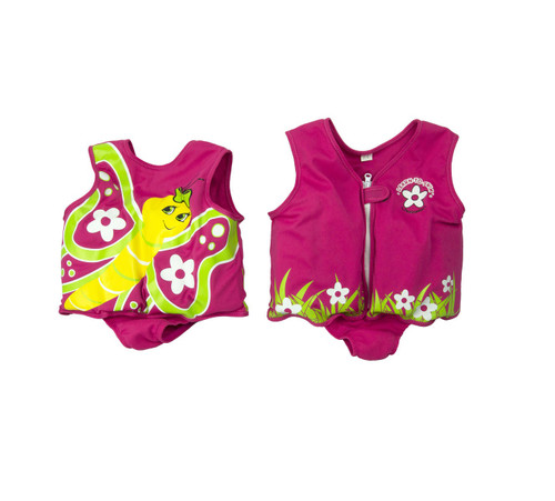 Pink and Yellow Butterfly with Flowers Unisex Toddler Swim Vest - Large - IMAGE 1
