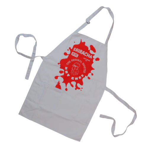 "30.5"" Red and White Spicy 'Sriracha' Pepper Sauce Kitchen Apron - IMAGE 1"