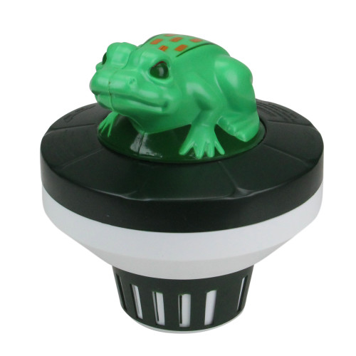7.5-Inch Green and Black Frog Floating Swimming Pool Chlorine Dispenser - IMAGE 1
