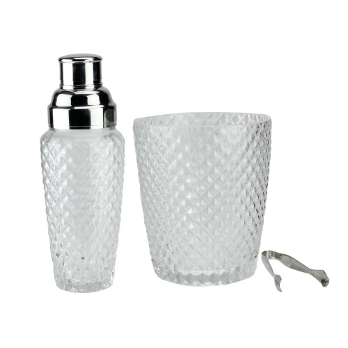 """Set of 3 Diamond Cut Handcrafted Clear Cocktail Shaker with Bucket and Tong 9.5"""" - IMAGE 1"""