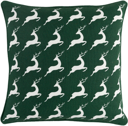 """18"""" Green and White Contemporary Animal Print Square Throw Pillow - Down Filler - IMAGE 1"""