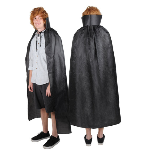Club Pack of 12 Black Magician's Cape Adult Men's Halloween Costume Accessories - One Size - IMAGE 1