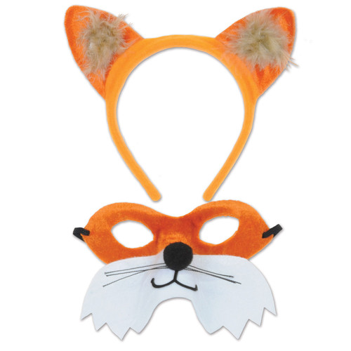 """Club Pack of 12 White and Orange Fox Head Band and Mask Set 6.25"""" - IMAGE 1"""