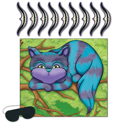"""Club Pack of 24 Blue and Green Wonderland Smile on Cheshire Game Party Favors 18"""" - IMAGE 1"""