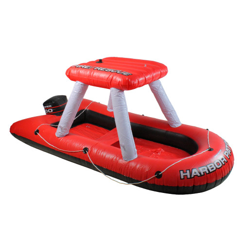 Inflatable Red and White Fire Boat Ride-On Water Squirter Swimming Pool Toy, 60-Inch - IMAGE 1