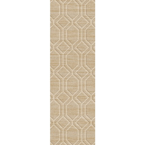 2.5' x 8' Athenian Boulevard Ivory White, Champagne and Copper Brown Area Throw Rug Runner - IMAGE 1