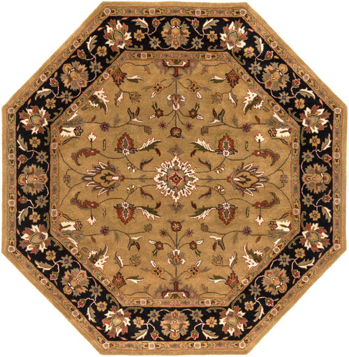 8' Black and Brown Hand Tufted Octagon Wool Area Throw Rug - IMAGE 1