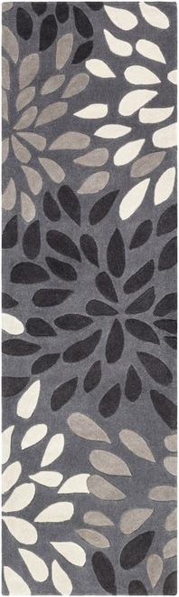 2.5' x 8' Black and Gray Floral Pattern Hand Tufted Throw Rug Runner - IMAGE 1