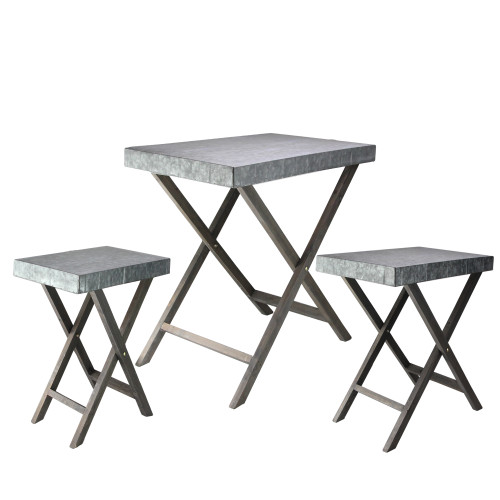 Set of 3 Gray Faux Hammered Finish Metal Decorative Rectangular Nesting Tables - IMAGE 1