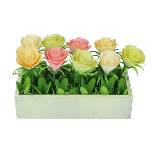 """9.5"""" Yellow and White Potted Springtime Artificial Flowers - IMAGE 1"""