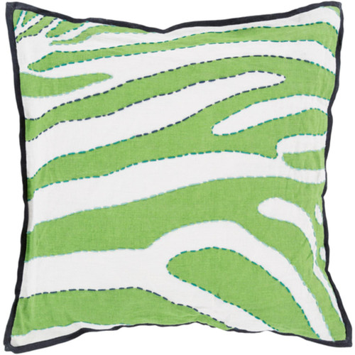 """22"""" Blue and White Zebra Print Square Throw Pillow Cover - IMAGE 1"""