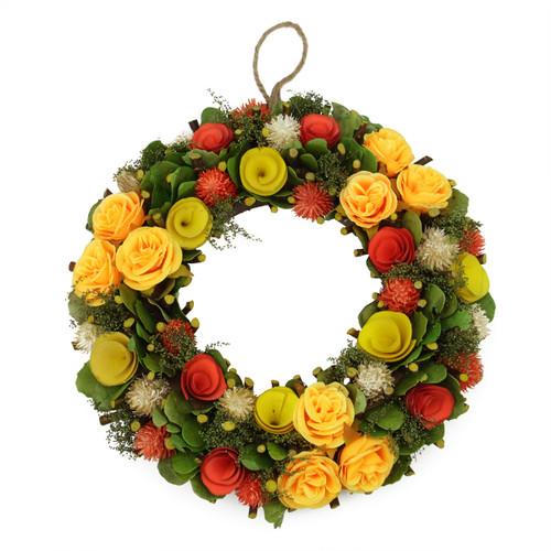 Orange and Yellow Flowers with Moss and Twig Artificial Floral Spring Wreath, 12-Inch - IMAGE 1