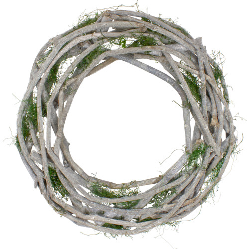 Twig and Moss White Artificial Spring Wreath - 14-Inch, Unlit - IMAGE 1