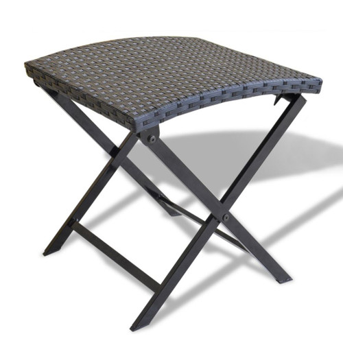 """17"""" Jet Black Foldable Wicker with Steel Frame Outdoor Patio Stool - IMAGE 1"""