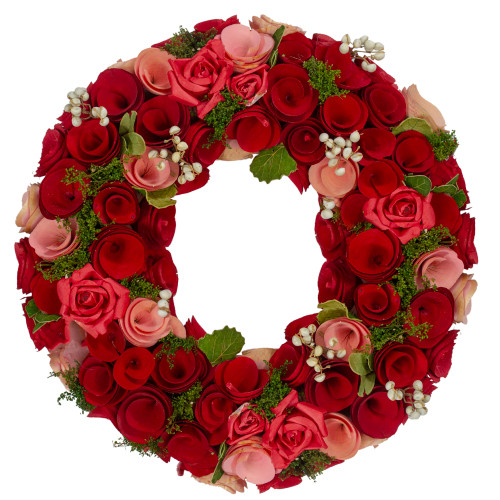Red and Pink Wooden Rose with White Berries Artificial Wreath, 12-Inch - IMAGE 1