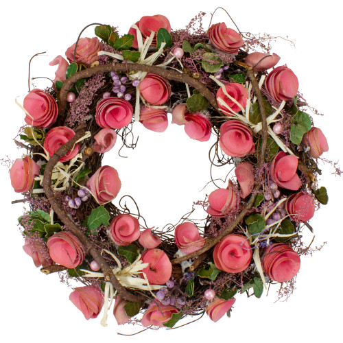 Pink Floral, Berry and Twig Artificial Spring Wreath, 12-Inch - IMAGE 1