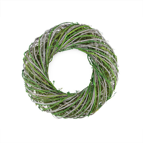 Moss Twig Artificial Wreath, Green and White 14-Inch - IMAGE 1