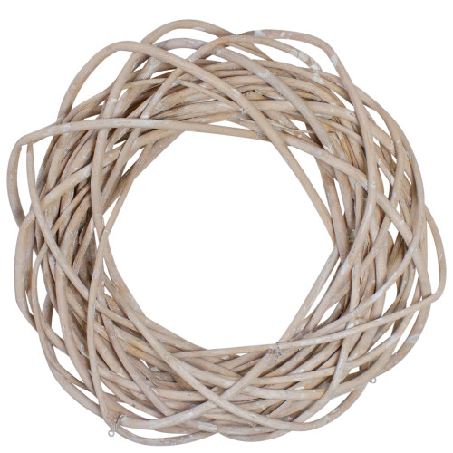 """12"""" White Pealed Weeping Willow Branch Spring Wreath- Unlit - IMAGE 1"""