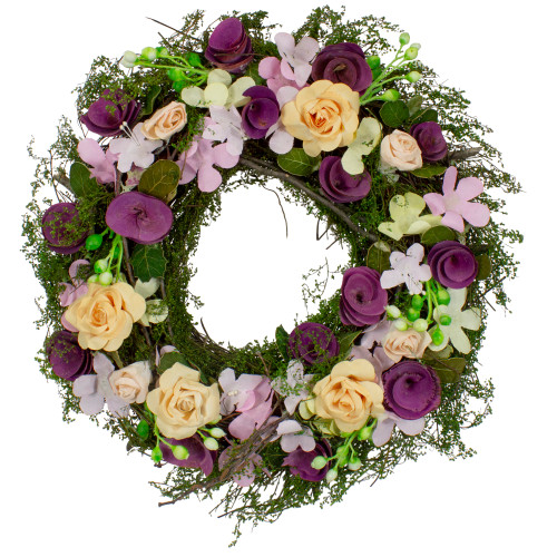 Purple and Green Floral, Berries and Twig Artificial Spring Floral Wreath, 14-Inch - IMAGE 1