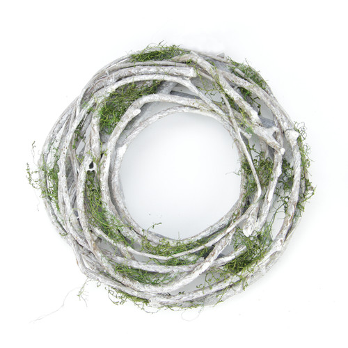 """13"""" Twig and Moss Artificial Round Spring Wreath - Unlit - IMAGE 1"""