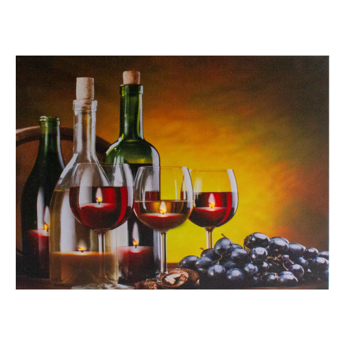 """LED Lighted Flickering Wine, Grapes and Candles Canvas Wall Art 15.75"""" - IMAGE 1"""