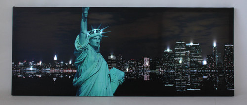 """LED Lighted Statue of Liberty with New York City Skyline Canvas Wall Art 15.75"""" x 39.25"""" - IMAGE 1"""