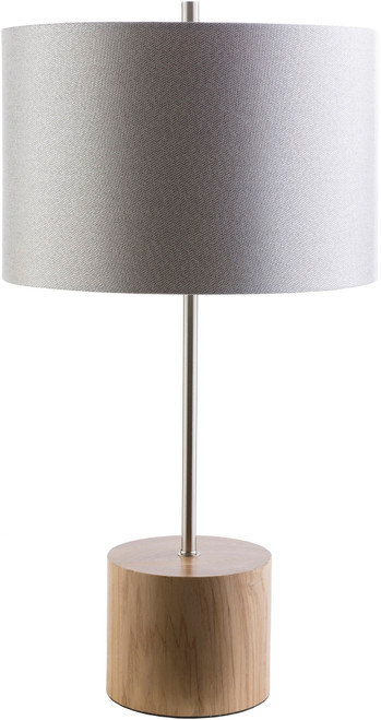 """28.54"""" Light Gray and Brown Wood Drum Shaped Rectangular Table Lamp - IMAGE 1"""