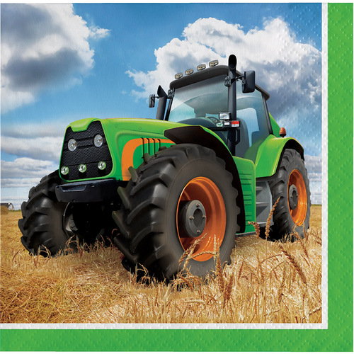 """Club Pack of 192 Green and Black Tractor Premium 2-Ply Disposable Beverage Napkins 5"""" - IMAGE 1"""