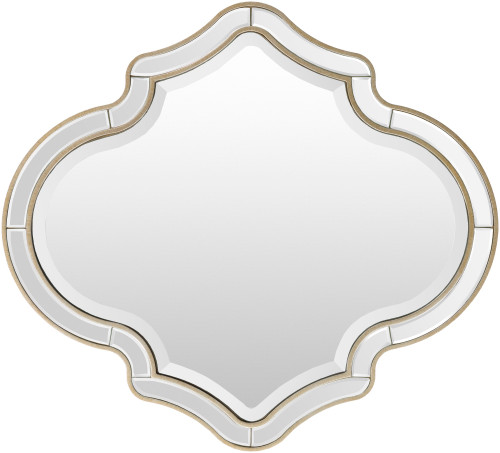"""Champagne and Silver Fiberboard Framed Rectangular Mirror with Beveled Finish 31.5"""" x 35"""" - IMAGE 1"""