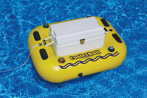 52-Inch Inflatable Yellow and Black Swimming Pool Cooler Raft Tube Float - IMAGE 1