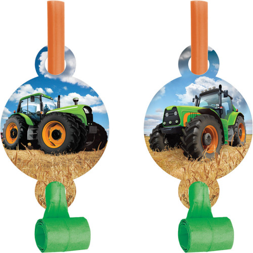 """Club Pack of 48 Green and Blue Tractor Blowout Party Noisemakers 5.25"""" - IMAGE 1"""