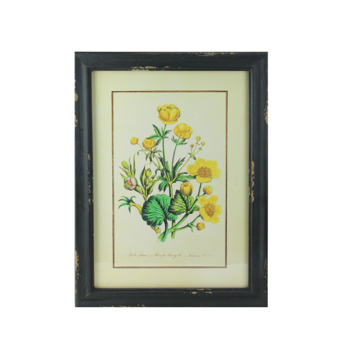 """16"""" Black and Butter Yellow Marigold Distressed Wood Framed Print Wall Art - IMAGE 1"""