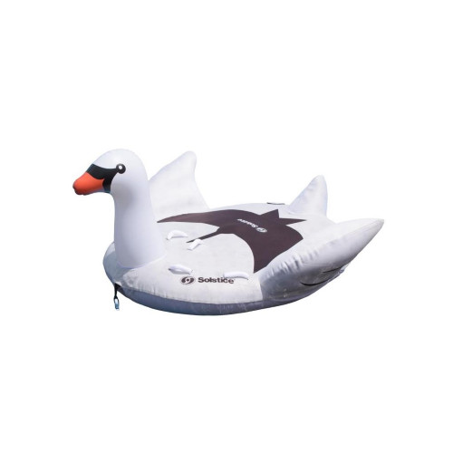 84-Inch Two Person Giant Towable White and Black Lay On Swan With Handles - IMAGE 1