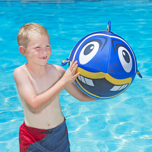 Inflatable Blue and Yellow Fish Swimming Pool and Beach Ball, 27-Inch - IMAGE 1