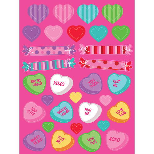 """Club Pack of 48 Pink Valentine's Conversation Heart Candy Stickers 8"""" - IMAGE 1"""