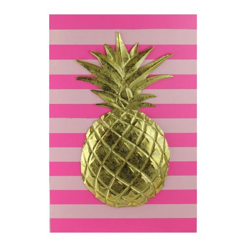 "18"" Bubblegum Pink, Rose and Metallic Gold Pineapple Wood Wall Art - IMAGE 1"