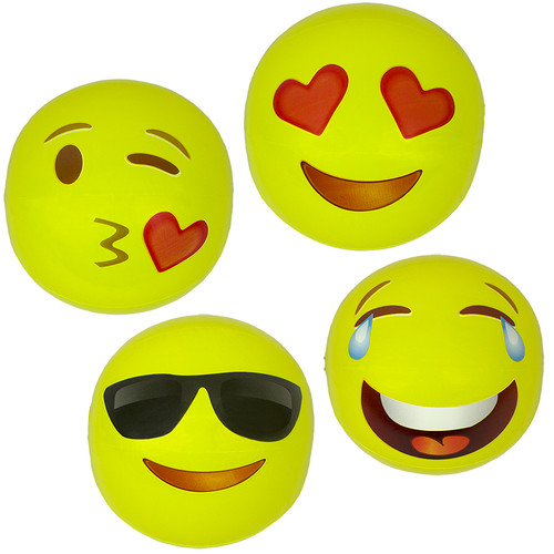 """Set of 4 Inflatable Yellow Expressions Swimming Pool and Beach Ball 16"""" - IMAGE 1"""