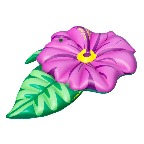 """70"""" Inflatable Green and Pink Summer Hibiscus Flower Lounge Pool Float - IMAGE 1"""