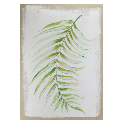 "28"" x 20"" Green and Ivory Fern Fronds Unframed Linen Canvas Wall Art - IMAGE 1"