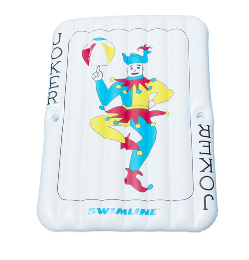 """69"""" Inflatable White and Blue Joker Playing Card Pool Mattress - IMAGE 1"""