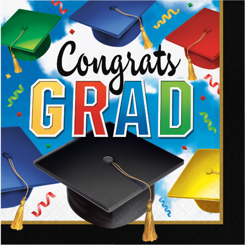 """Pack of 1200 Vibrantly Colored 'Congrats GRAD' Printed Rectangular Luncheon Napkins 13"""" - IMAGE 1"""