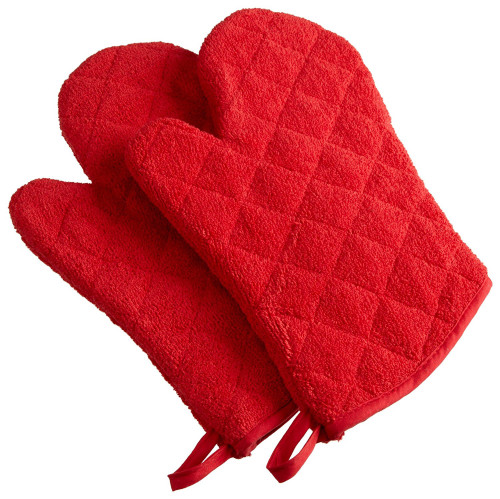 """Set of 2 Bright Red Oven Mitts with Quilted Diamond Design 13"""" - IMAGE 1"""
