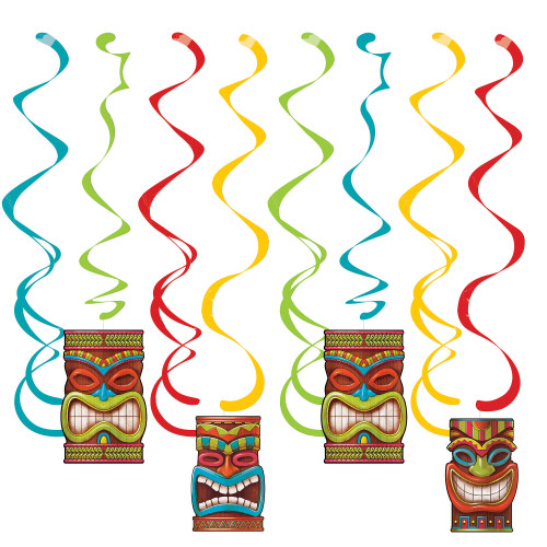 """Club Pack of 96 Red and Blue Tiki Time Hanging party Danglers 10.25"""" - IMAGE 1"""