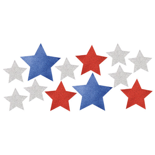 """Club Pack of 144 Gray and White Patriotic Glittered Star Cutouts 9.25"""" - IMAGE 1"""