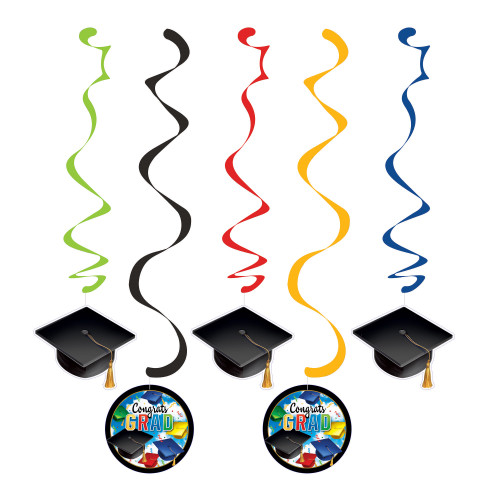 """Club Pack of 60 Black and Green Grad celebration Hanging party Dizzy Danglers 10.25"""" - IMAGE 1"""