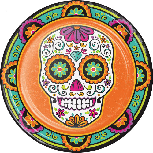 """Pack of 96 Orange and Green Day of the Dead Disposable Party Dinner Plate 8.75"""" - IMAGE 1"""