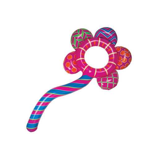 Inflatable Pink and Blue Inflatable Awesome Blossom Swimming Pool Float Ring Tube, 84-Inch - IMAGE 1