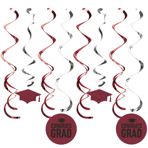 """Club Pack of 96 Burgundy Red and Black Grad Hanging party Dizzy Danglers 10.25"""" - IMAGE 1"""